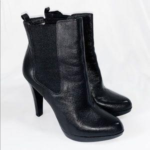 Michael Kors Black Leather Stiletto Booties EUC